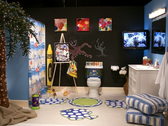 Fascinating Cute Kids Bathroom Decorating Ideas : Kids Bathroom Decorating Ideas With Decorated Wall With Small Closet And Cabinet And Picture Wall