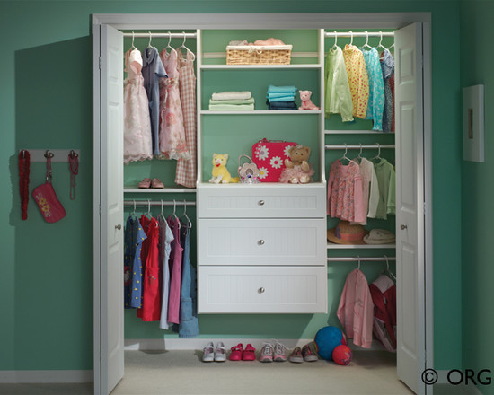 Beautiful Baby Closet Organizer Ideas: Kids Painted Closet With Suspended Drawers And Space Under For Shoes And Put Dresser In Closet