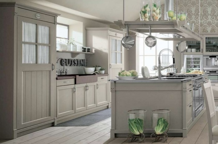 How to Jazz Up Your Family Gathering With an Italian Style Kitchen Design: Kitchen Cabinet 2 Faucets 2 Washbasin Wooden Kitchen Floor Kitchen Appliances