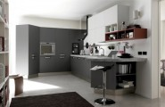 How to Create a Chic Functional Open Kitchen for Your Family Gathering : Kitchen Cabinet Black Stool Bar Dark Brown Carpet Kitchen Rack Concentrate Floor