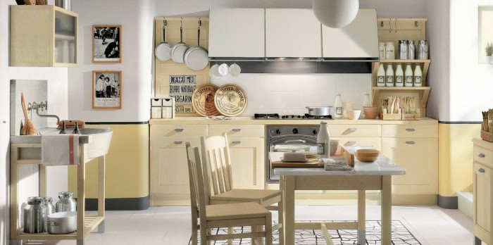 How to Jazz Up Your Family Gathering With an Italian Style Kitchen Design : Kitchen Cabinet Open Kitchen Kitchen Appliances Dining Table 2 Hanging Portrait