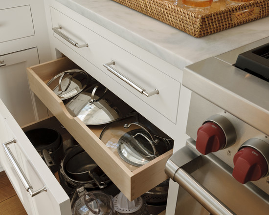 Efficient Saucepan And Pot Lid Storage: Kitchen Storage Crisp Architects Drawer For Pots And Their Lids Double Tier Drawer For Pots And Lids