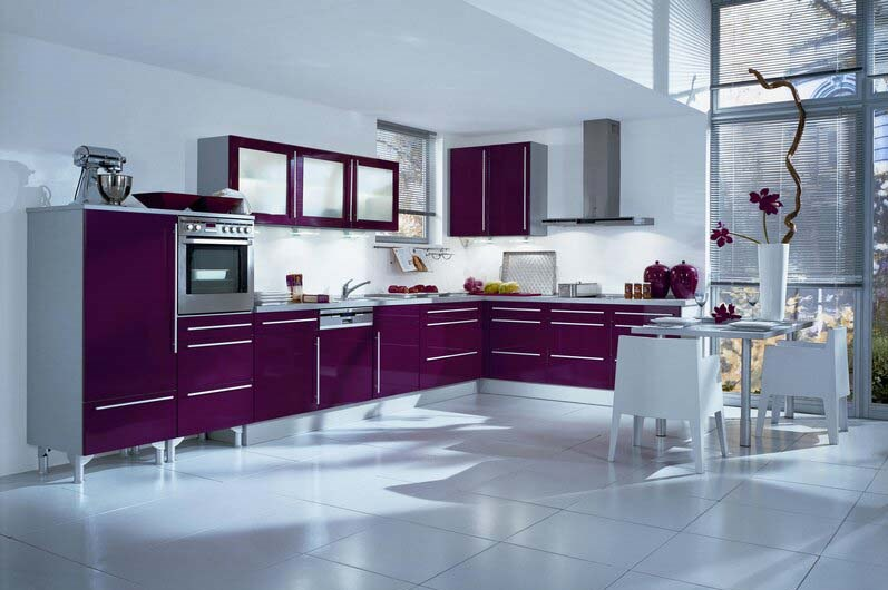 Kitchen Tile Flooring Designs Ideas : Kitchen Tile Flooring Design With Gorgeous Purple Color Kitchen Cabinet Table Chairs Vase Ideas