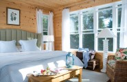 Awesome Painting Knotty Pine Paneling Ideas : Knotty Pine Interior With White Window Frames And White Sheer Curtains In Pine Paneling