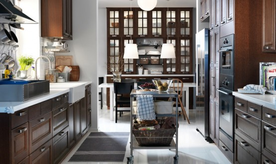 Dining Room and Kitchen Designs Ideas and Furniture: Lakewood Contemporary Kitchen Furniture With Wood Laminated Kitchen Island Decor With Light And The Gorgeous High Cabinet Appliances And Beautiful Pantry Bright View