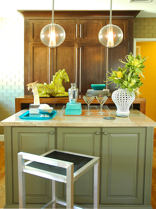 Beautiful Light Green Color For Kitchen Cabinets: Lakewood Contemporary Kitchen With Green Color Island With Light And The Globes Break Up All The Crisp Rectangular Lines In The Room And Stained Cabinets And Painted Island Plus Diffused Light