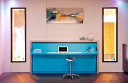 Multifunction Workspace In House Furniture Storage Design : Laptop Light Blue Desk Table Desk Chair Hanging Painting 2 Windows