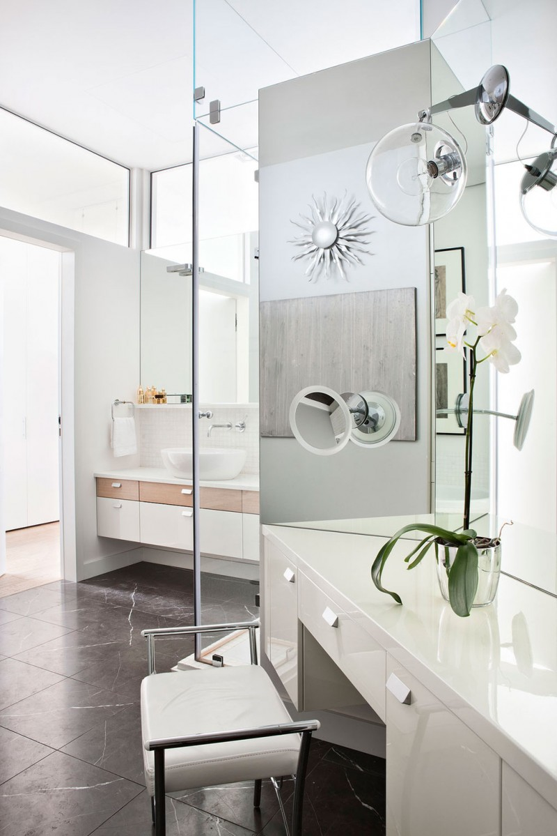 Inspiring Cozy Apartment Design Ideas In Bright Colors: Large Mirror White Washbasin Faucet Outstanding Ceramic Floor White Chair And Green Plnt Decoration
