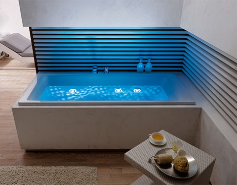 Enchanting Modern Bathroom Design Ideas: LED Lighted Bathtub