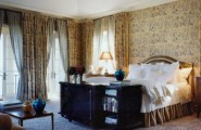 Beautiful Leopard Print Carpet : Leopard Print Carpet With Black And White Finely Striped Silk Sheers Finish The Composition At Traditional Bedroom