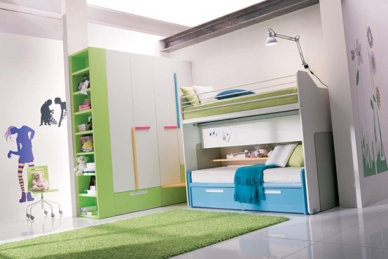 Room Design For Kids: Lime Green White Tranquil Teenage Kids Bedroom Two Floor With Matching Color Large Cabinet Anfd Green Rug