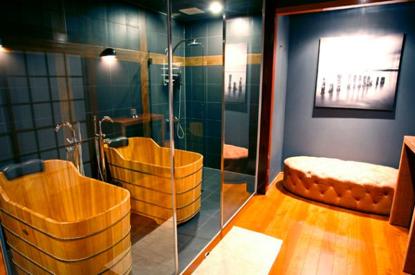 Fascinating Wooden Japanese Bathroom Deign For Relaxation : Lovely Japanese Bath With Bamboo Bath And Mirrored Doors With Amusing Marble Floor And Grey Wall