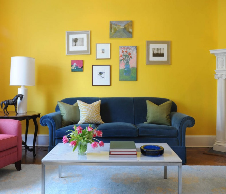 Sunny Yellow Paint Colors Make Your Living Room Feels Warm : Lovely Yellow Living Room Decoration With Blue Pink Sofa And White Plint Ideas