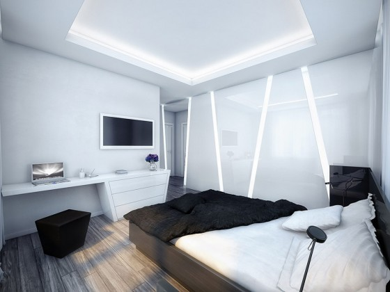 Futuristic Black And White Stylish Apartment Design: Luxurious Amazing Apartment Room Style White Bedroom With Cool Black Linen Bedding Nice Futuristic Lamp Wall Decoration Floor Design