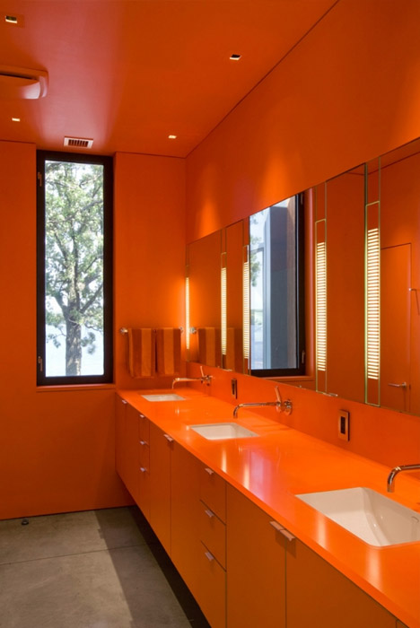 Enchanting Modern Bathroom Design Ideas : Luxury Bright Orange Color Bathroom Interior Decoration With Bathroom Cabinet Mirror Washbasin Towel Hanger Window And Tile Flooring Ideas