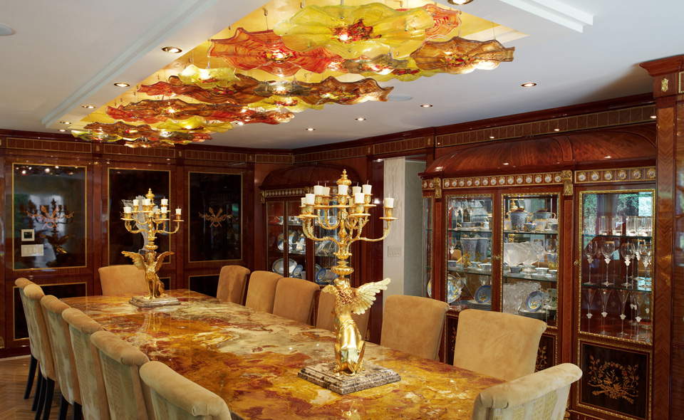 Inner Glow ThinkGlass Versatile Countertop Design : Luxury Dining Room Design With Artistic Glass Countertops Table And Numerous Aerial Sculptures Also Highlight The Ceilings As Vanities Lamps Cabinetry Ideas
