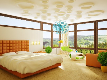 Luxury Master Bedroom Design: Luxury Master Bedroom Design With Beautiful Furniture Pendant Lamp Unique Ceiling Valley View Window Wooden Flooring Ideas