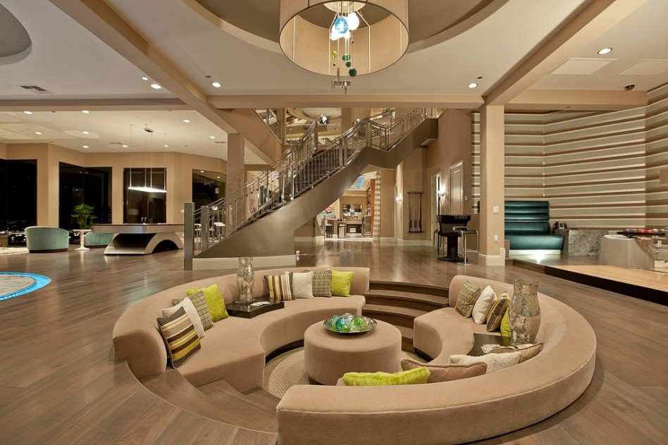 Awesome Indoor Pits Design: Luxury Round Shape Indoor Conversation Pits Design With Half Round Light Brown Sofa Inside At Light Brown Theme Luxury Living Room