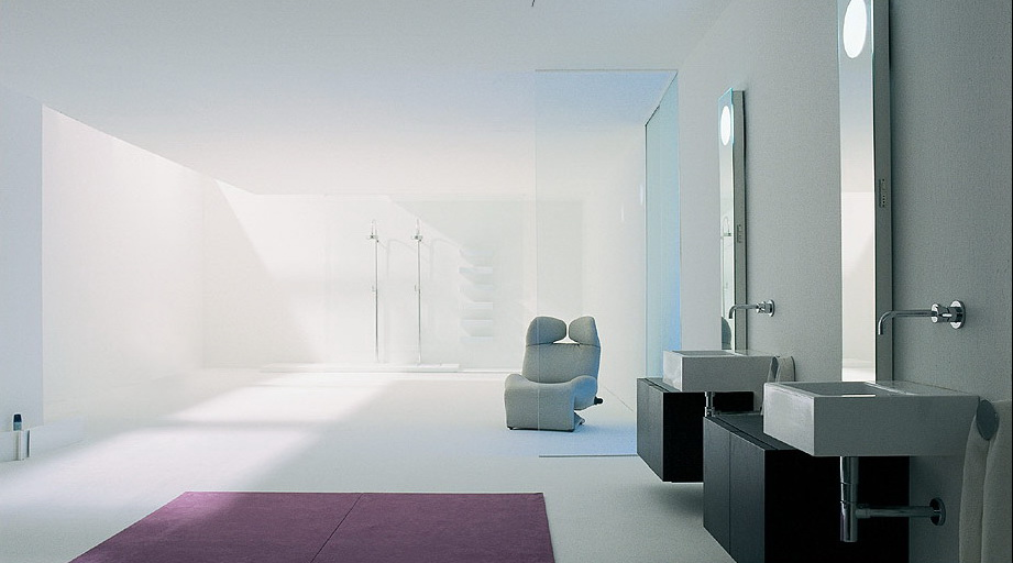 Modern and Unique Bathrooms Design from Flaminia : Luxury Simply White Double Open Shower Geometrical Bathroom Interior Design With Bathroom Vanities And Lounge Chair And Purple Mat From Flaminia
