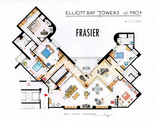 Most Famous On TV Apartments Floor Plans Ideas: Luxury Three Bedrooms Most Famous TV Apartment Floor Plan Architecture Design Of Frasier At Elliott Bay Towers
