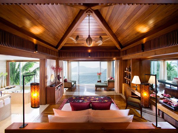Inspiring Ocean View Bedroom Design Ideas : Luxury Villa Island Sea View Bedroom Interior Decoration With King Bed Lamps Wooden And Porcelain Tile Flooring Wooden Ceiling Cabinetry Ceiling Fan Bathroom Glass Wall And Large Glass Sliding Door Ideas