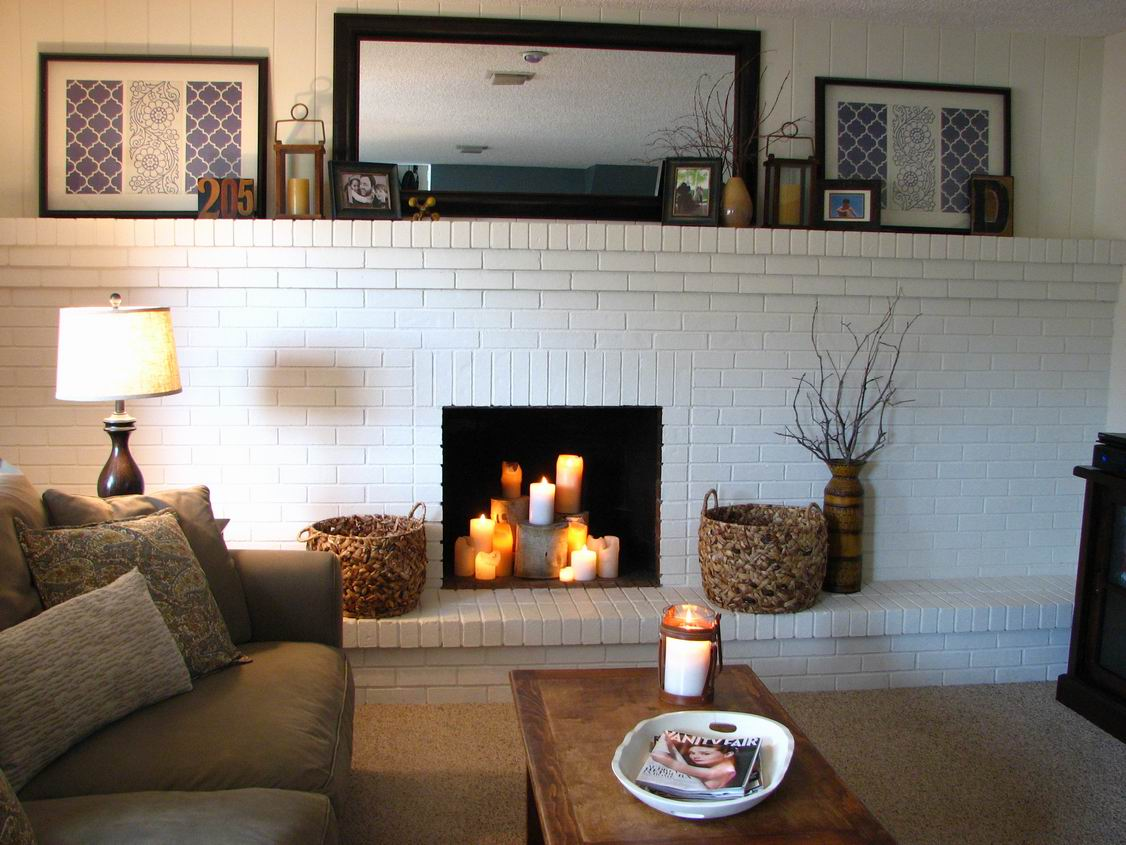 Make Your House A Home Without Spending Any Money Ideas: Make House To Home Living Room Interior Design By Add All Size Candle In Wide White Stone Bust Fireplace Large Wicker Basket And Wall Decor