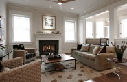 Outstanding Prefabricated Wood Burning Fireplace : Marvellous Traditional Family Room Prefabricated Wood Burning Fireplace Windows On Both Sides Of The Fireplace Wood Bruning Insert Off The Floor Flush Hearth Extension