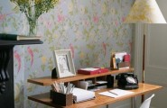 Mesmerizing Office Decor Ideas : Marvelous Fresh Home Office Decor Corner Of The Study Room With With Simple Laminated Tables And Plastic Chairs With Flower Pictured Wallapaper With Tiled Floors