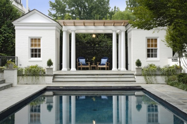 Wonderful Pool House Designs For Your Own House: Marvelous Pool House Designs Ideas Classical Building In WhiteHouse Designs Nice Exposed Wooden Roof ~ stevenwardhair.com Furniture Inspiration