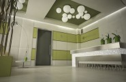 Breathtaking Interior Design Ideas By Ezzo Design : Marvelous Waiting Room Interior Design With Stuning Receptionist Desk Idea With Celing Decor With Wall Decor With Archlamp Sofa And Tile Flooring Ideas By Ezoo Design
