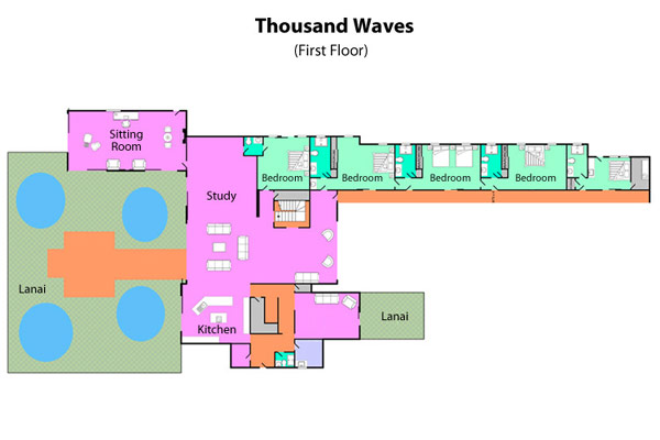 Tropical Gardens And Ultimate Villa Design In Maui, Hawaii: Thousand Waves Holiday Villa : Maui Thousand Waves Holiday Villa First Floor Plan Architecture Drawing