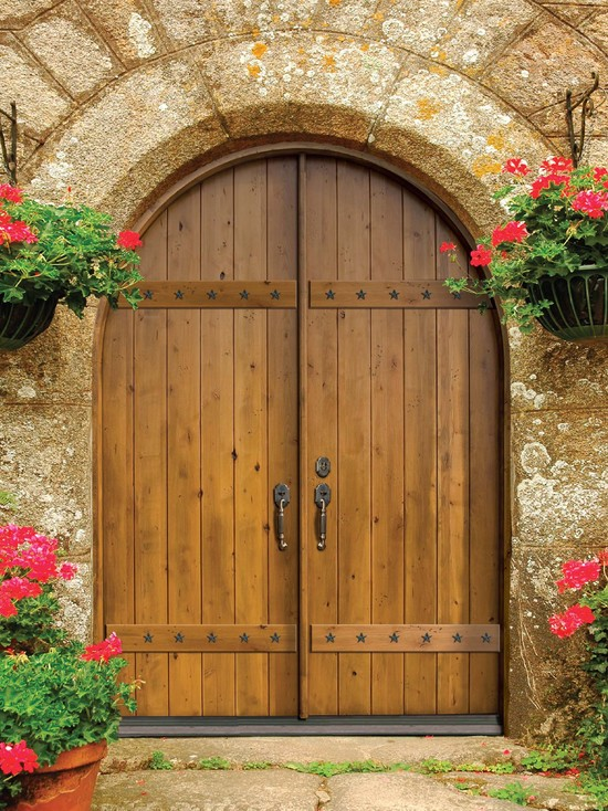 Excellent Fiberglass Front Doors With Glass And Hardwood: Mediterranean Double Arched Doors With Some Stone For The Bingham Front Entry Red Brown Hardwood Mahogany Stark Dress Such As Bright Flowers