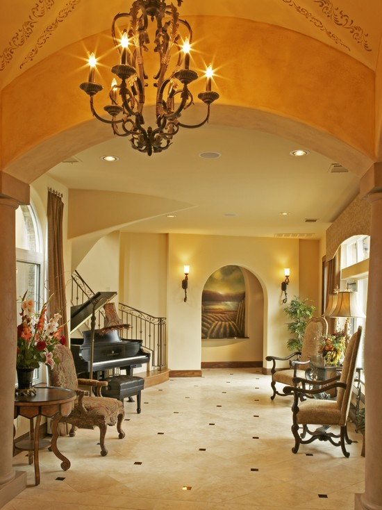 Extraordinary Tile Floor Designs For Kitchens: Mediterranean Entry Small Tiles In The Hallway And Big Tiles In The Living Room Classic Chandelier Grand Piano