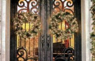 Excellent Fiberglass Front Doors With Glass And Hardwood : Mediterranean Entry With Steel Doors Make A Buffalo Forge Wrought Iron Entry Door The Centerpiece Of Home