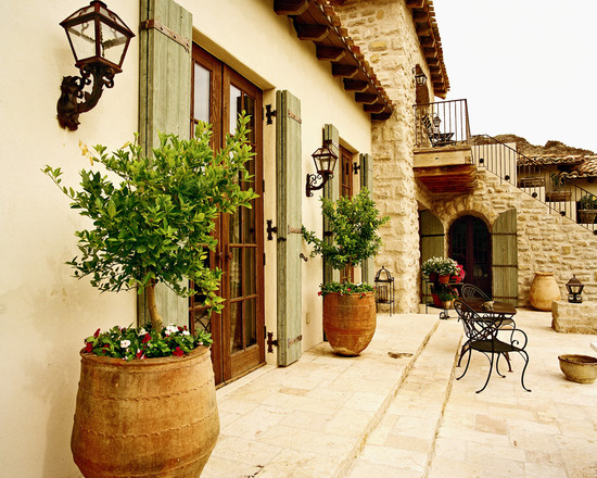 Enchanting Tuscan Window Shutters: Mediterranean Exterior Rustic French Door And Shutter Pots And Plants Nice Green Stain On The Shutters Tuscan Brick And Terra ~ stevenwardhair.com Exterior Design Inspiration