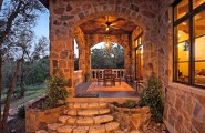 Amazing Backyard Patio Designs : Mediterranean Exterior With Amazing Backyard Accent For A Deck Or Porch Of Types Plus Wood Patio Furniture
