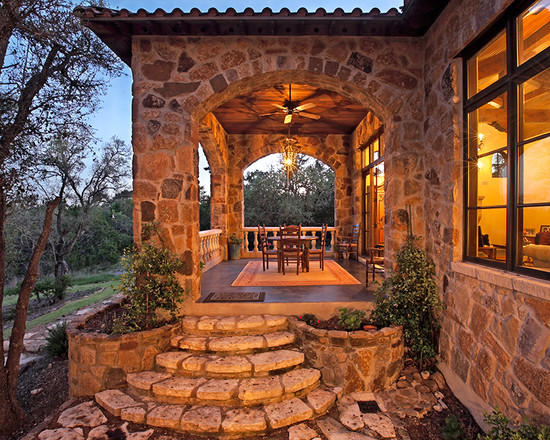 Amazing Backyard Patio Designs: Mediterranean Exterior With Amazing Backyard Accent For A Deck Or Porch Of Types Plus Wood Patio Furniture ~ stevenwardhair.com Exterior Design Inspiration