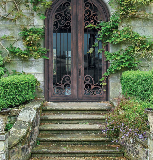 Excellent Fiberglass Front Doors With Glass And Hardwood: Mediterranean Iron Entry With Steel Doors Perfect Mixture Of Elegant High End Style And Just The Right Amount Of Rustic Plus Tone And Greenery