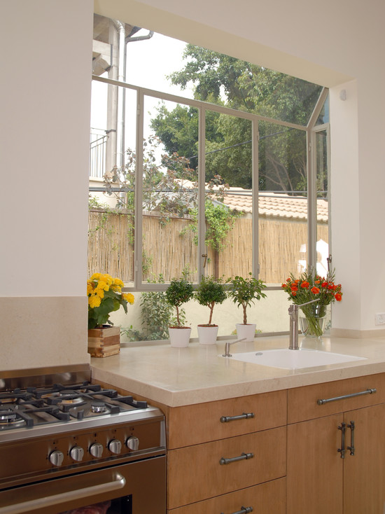 Interesting Kitchen Window Herb Garden : Mediterranean Kitchen With Great Idea For Window In Kitchen And Space For Herb Garden If Enough Light And Bay Window
