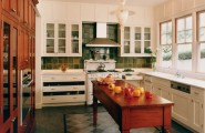 Home Design Pictures Of Painted Wood Floor : Mediterranean Kitchen Wood Center Table Open Drawers For Pots And Pans White Wood Contrast Tile Flooring