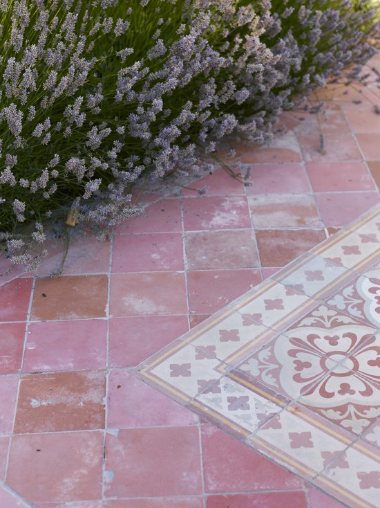 Amazing Various Outdoor Patio Floor Tiles Designs: Mediterranean Landscape Outdoor Patio Old Saltillo Italian Tile Floor Moroccan Rug Tile Pattern And Lavender Tie A Mediterranean Patio Together