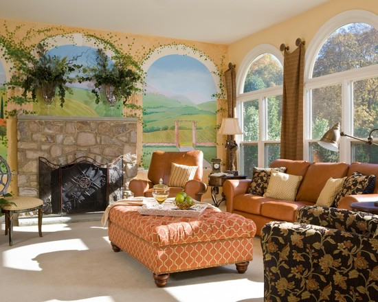Beautiful Wall Murals For Living Room : Mediterranean Living Room Excellent Fireplace Wall Mural Mimicking Windows Wall And Outline Of The Bottom Portion Top And Bottom In A Contrasting Color