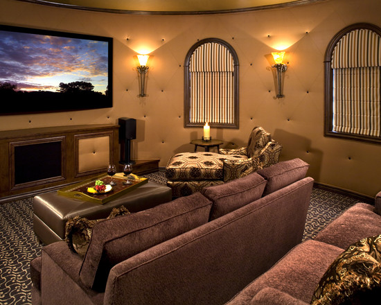Room Decor With Insulated Roman Shades : Mediterranean Media Theater Room With Pretty Insulated Roman Blinds Comfortable Sofa And Wide Lcd Tv