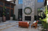 Stunning Rectangular Travertine Tile For Amazing House : Mediterranean Patio With Travertine Pavers Nice Color And Size Blend Of Rock And Clean Tile