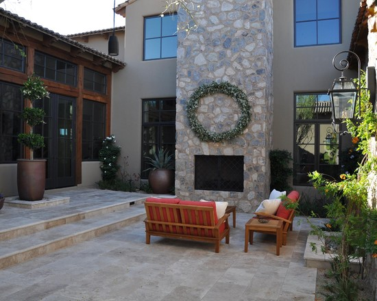 Stunning Rectangular Travertine Tile For Amazing House: Mediterranean Patio With Travertine Pavers Nice Color And Size Blend Of Rock And Clean Tile