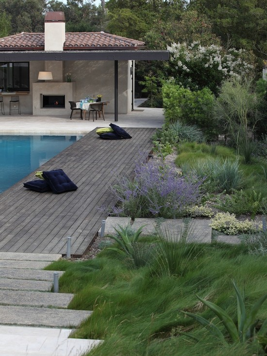 Interesting Photos of Wood Decks: Mediterranean Pool Area Decking And Cabana Epi Wood Flooring From Brazilian Hardwood Combination Of Stone Wood And Bluestone ~ stevenwardhair.com Exterior Design Inspiration