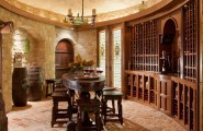 Rustic Cobblestone Tile Flooring : Mediterranean Wine Cellar Cobblestone Floor Vintage Wood Table And Chairs Plus Chandelier And Flooring In The Wine Cellar