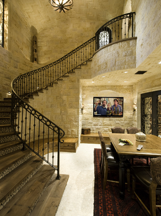Awesome Wine Cellar Spiral Staircase: Mediterranean Wine Cellar With Marble Staircase Tile And Wrought Iron Staircase Stone Risers On Staircase