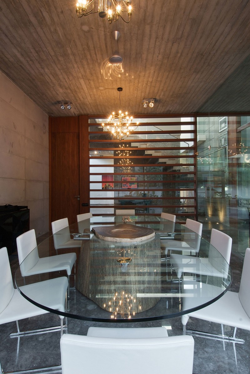 Inspirig Glass and Stone Material Structures for Outstanding Perfect Home Design: Meeting Room Chandelier Glasses Table Ten White Chairs Laminate Ceiling
