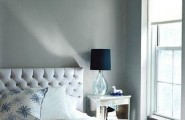 Captivating Apartment Interior That Will Satisfy Your Need : Mesmerizing Blue And Grey Pallette Soft Cozy And Restful Simple Yet Stylist Bedroom Glass Bedside Lamp By The Window